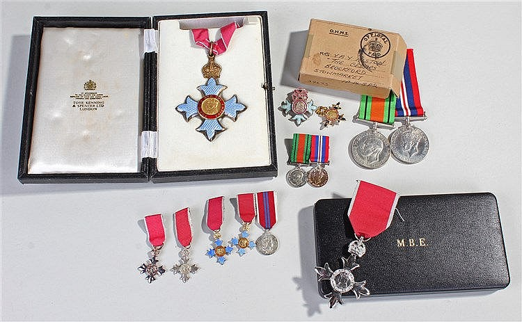 C.B.E. group, consisting of a CBE, an M.B.E. Second World War Defence and W