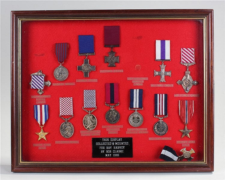 Collection of medals, consisting of copies of gallantry awards from the Vic