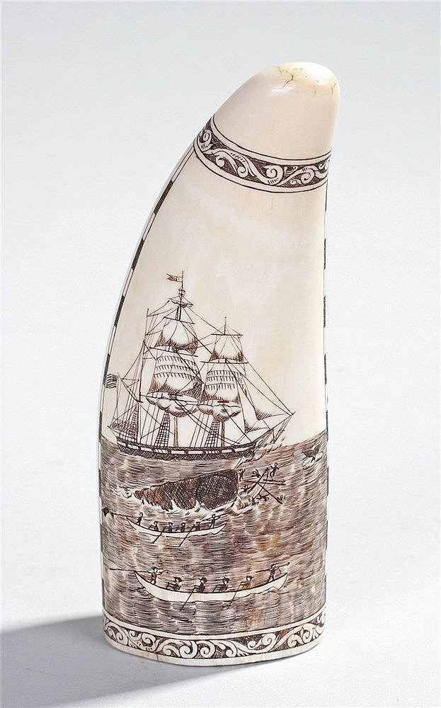Early 20th Century scrimshaw whales tooth, of United States interest, with
