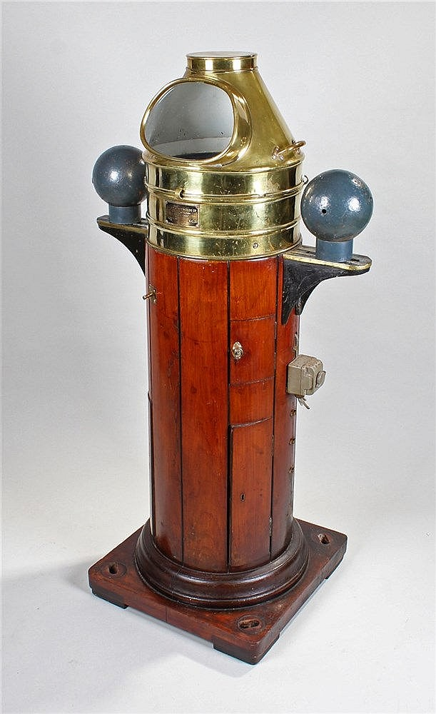 Early 20th Century brass and teak ship`s compass binnacle, Lilley & Reynold