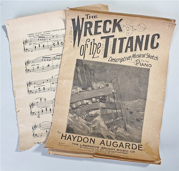 Titanic interest, a music score for 'The Wreak of the Titanic' by Haydon Au