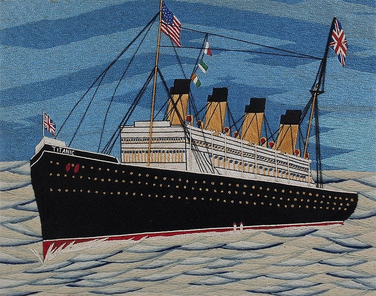 Early 20th Century sailors woolwork picture of The Titanic, housed within a