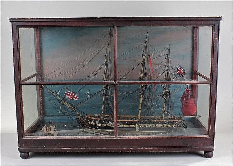 Early Victorian ship diorama, HMS Queen, the ship at sea with 64 guns, figu