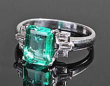 Fine Columbian emerald and diamond set white gold