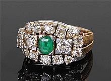 14 carat gold diamond and emerald ring, the centra