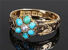 18 carat gold turquoise and pearl ring, the turquo