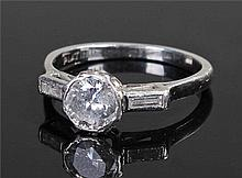 Platinum and diamond set ring, the central old cut