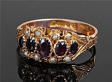 9 carat gold garnet and pearl ring, the five garne