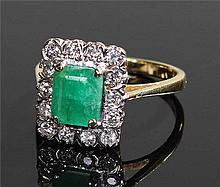 18 carat gold emerald and diamond ring, the centra