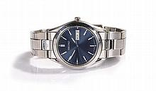 Seiko gentleman's stainless steel wristwatch, the black signed dial with ba
