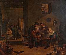 19th Century oil on board, Tavern scene with figures gambling, eating and d