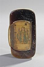 19th Century horn snuff box, the hinged lid with an enclosed religious pict