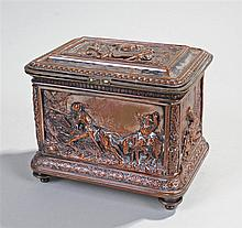 Victorian copper jewellery casket, decorated with hunting scenes, knights,