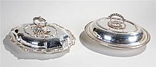 Two silver plated entrée dishes, the first with acanthus leaf arch handle a