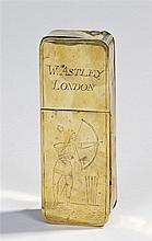 18th Century brass snuff box, the rectangular box with a hinged lid to the