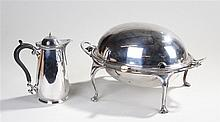 Harrods silver plated warmer, the hinged lid enclosing a pierced tray, rais