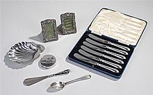 Collection of silver objects, various dates and makers, to include a butter