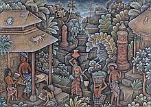 Regep Sajan Balinese school, figures among a forest gathering and drawers,