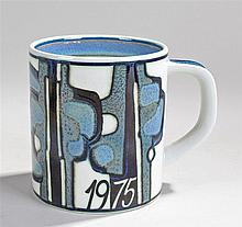 Royal Copenhagen mug, decorated with abstract design and dated 1975, silver