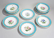 Minton's Victorian porcelain part service, consisting of two tazza dishes a