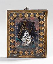 17th Century Limoges enamel plaque, Salvator Mundi, polychrome enamel with