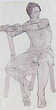 Fyffe Christie (1918-1979) Young Man Seated on Donkey Easel, signed bottom