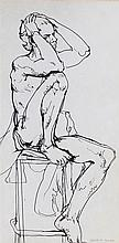 Fyffe Christie (1918-1979) seated figure holding head in hands, signed lowe