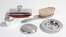 Silver objects, to include  blotter,  dish,  brush, napkin ring and compact