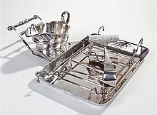 Silver plated asparagus dish and servers, maker Mappin & Webb, the dish wit