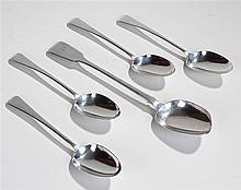 Set of four George III silver table spoons, London 1813, maker possibly Tho