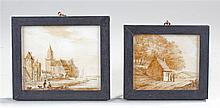 Two sepia drawings of landscapes on ivory plaques  - Stock Ref:53-348
