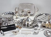 Silver plated wares, to include a meat dish, muffin dish, two trays, candle