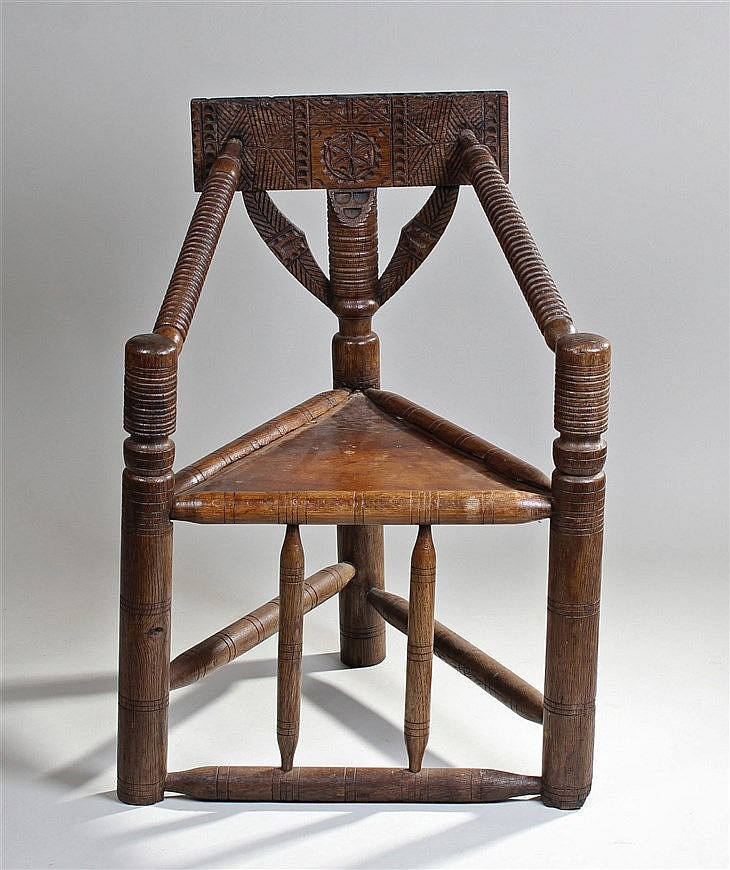 Victorian Oak Turners Chair, The Carved Rail Back With Reede