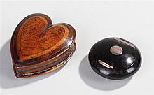 Charming 19th Century fruit wood snuff box, in the form of a heart, the lid