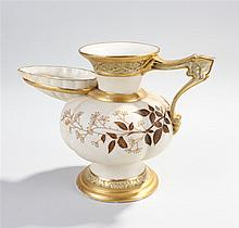 Royal Worcester jug, the ivory jug with gilt heightened leaf decoration, th