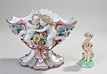 KPM porcelain figural basket, with an undulating bowl above two cherubs and