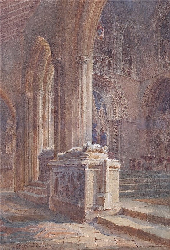 Sophie D'Ouseley (1851-1932) Cathedral interior, signed and dated 1891 wate