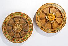 Two Pope Joan Regency boxwood gaming boards, the bowls rotating on a raised