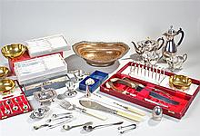 Silver plated wares, to include flatware, coffee pot, tea service, tea stra