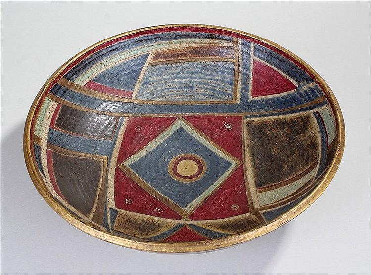 Bernard Forrester (1908-1990) large porcelain bowl with geometric polychrom