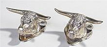 Pair of silver plated Bulls head ornaments, maker T.W, of naturalistic form