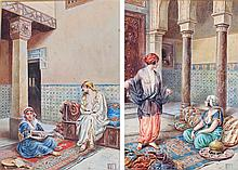 Vittoria Rappini (1877-1939) Interior of a Harem, a pair, signed watercolou