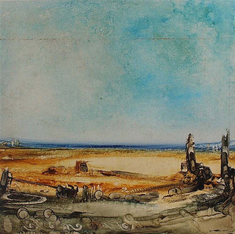 Anthony Egan, Landscape with ruins, signed on reverse, oil on board 61x62cm