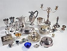 Silver plated wares, to include a pair of candelabra, goblets, dishes, jugs
