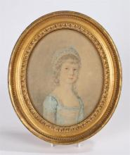Samuel de Wilde (1751-1832) Miss Trimmer, pencil and watercolour, 15.5cm x 19cm, with Gallery label to the back Leger Galleries 13 Old Bond Street, W.1. - Stock Ref:5941-61