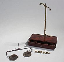 George III set of apothecary scales, the mahogany box with arm screw fittin