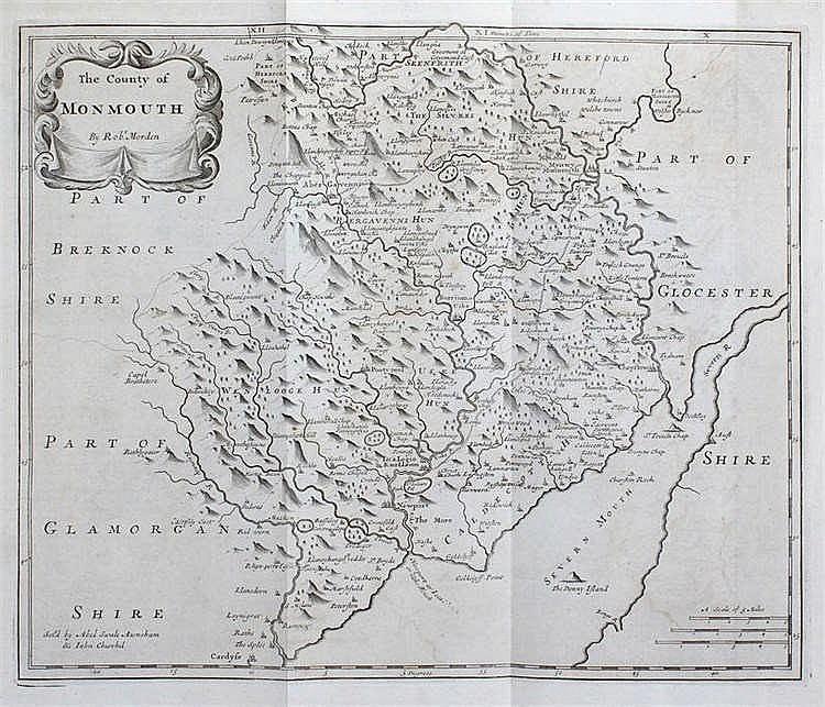 Robert Morden, 17th Century, The County of Monmouth, 42cm x 35cm - Stock Re