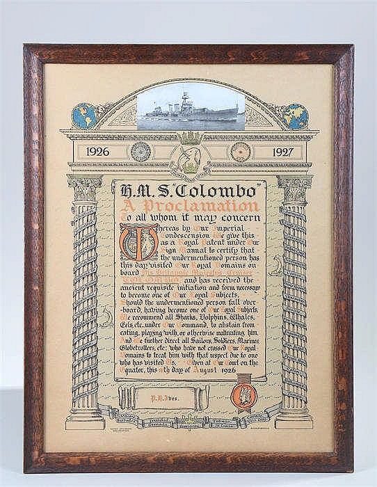 Naval interest, A proclamation from HMS Colombo dated August 10th 1926 in a