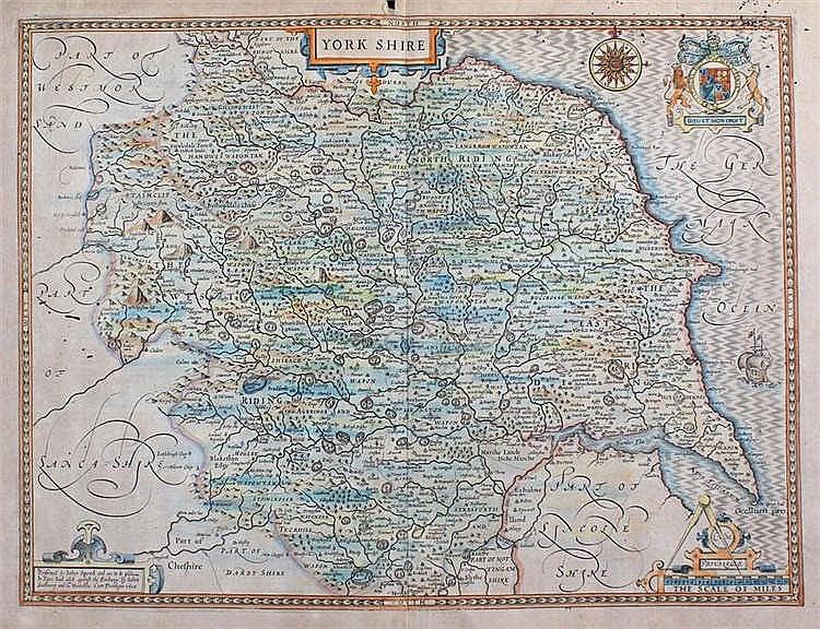 John Speede, 1610, Yorkshire, hand coloured map, 50cm x 38cm - Stock Ref:12
