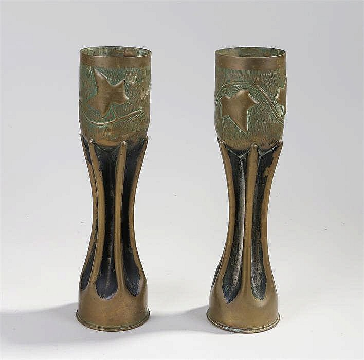 Pair of trench art brass shell vases with ivy leaf decoration - Stock Ref:5